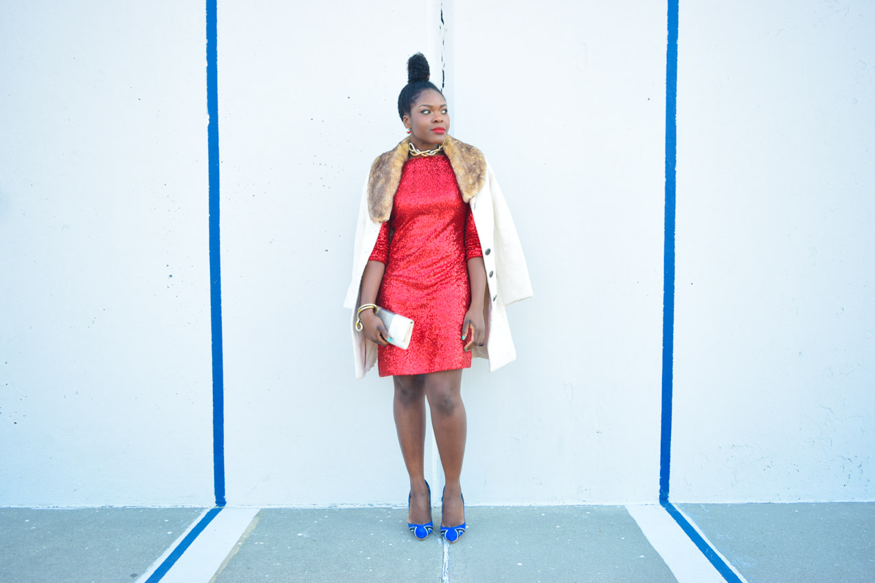 Befitting Style Red Sequins Dress NYFW Day 1 8