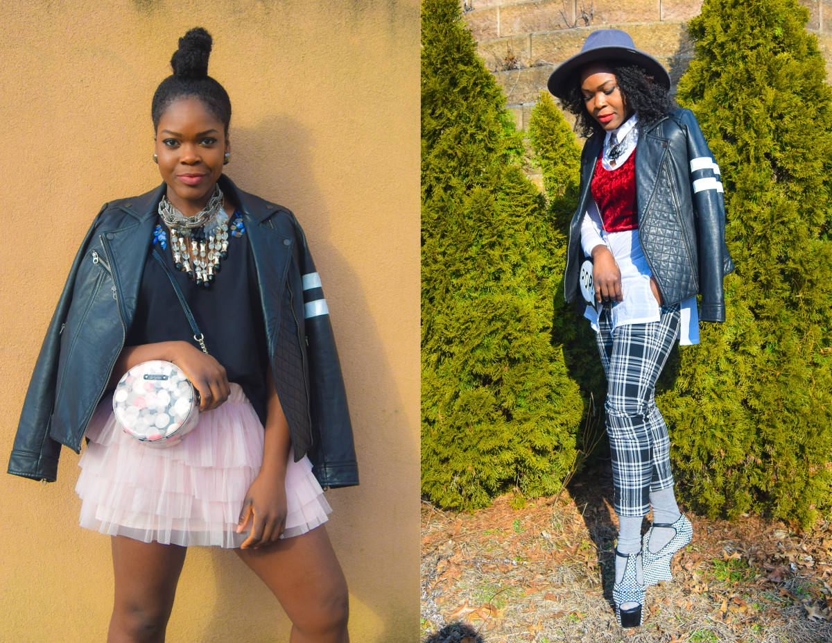 2 ways to wear a leather jacket this spring- with a skirt and with pants