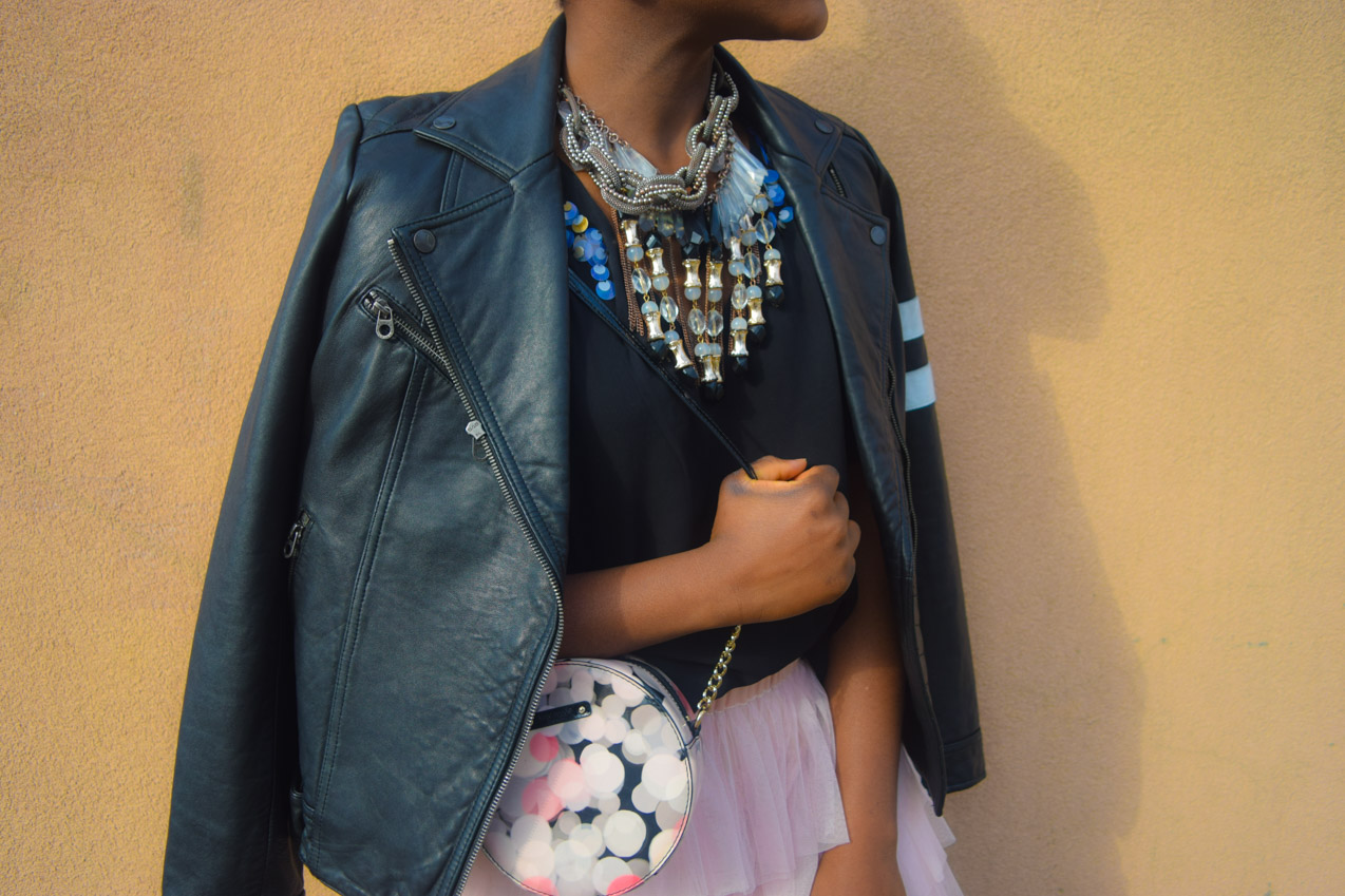 Close up of the accessories of a leather look