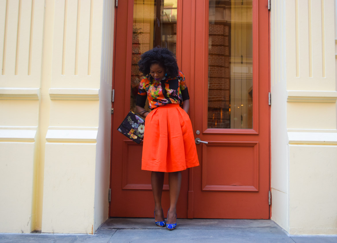 Befitting Style Red Full Skirt Color Block Top 10