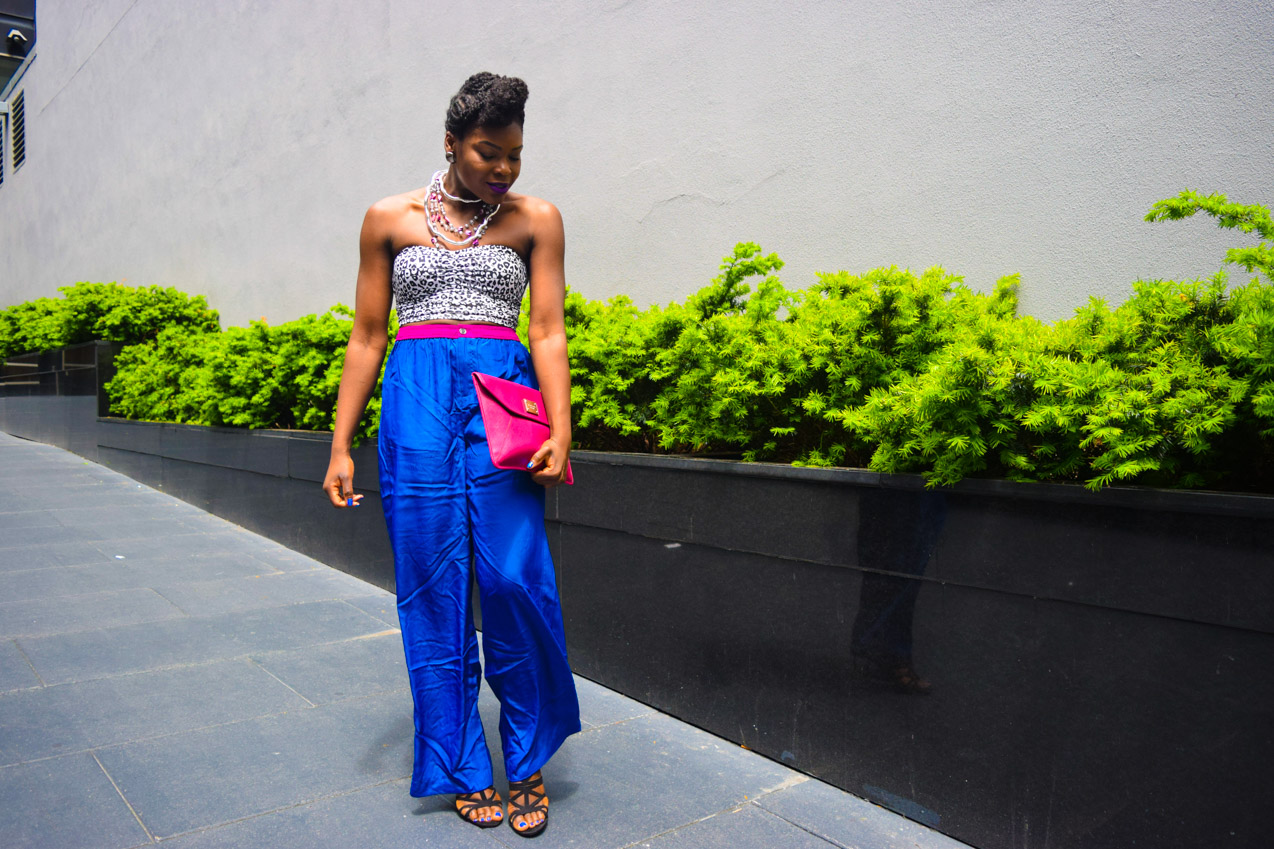 Befitting Style Oyinkan Wearing Cobalt Blue Full Leg Pants 11