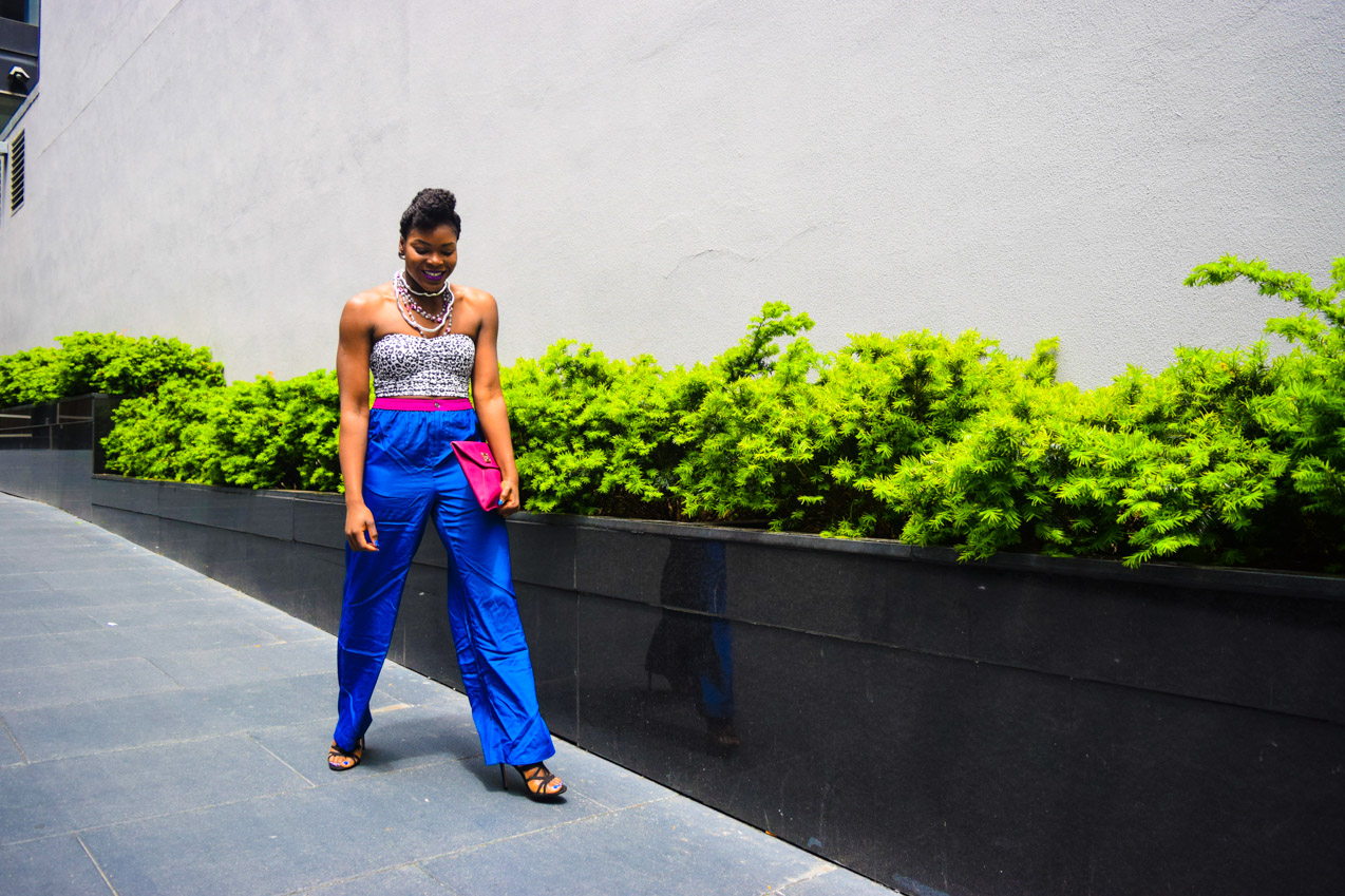 Befitting Style Oyinkan Wearing Cobalt Blue Full Leg Pants 13