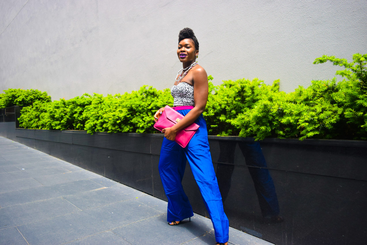 Befitting Style Oyinkan Wearing Cobalt Blue Full Leg Pants 14