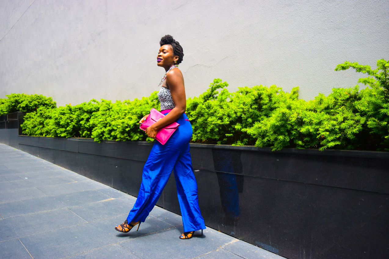 Befitting Style Oyinkan Wearing Cobalt Blue Full Leg Pants 15