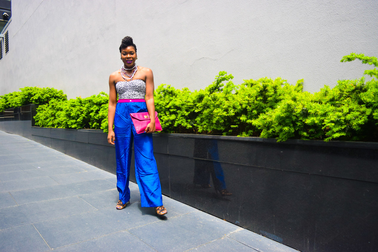 Befitting Style Oyinkan Wearing Cobalt Blue Full Leg Pants 17