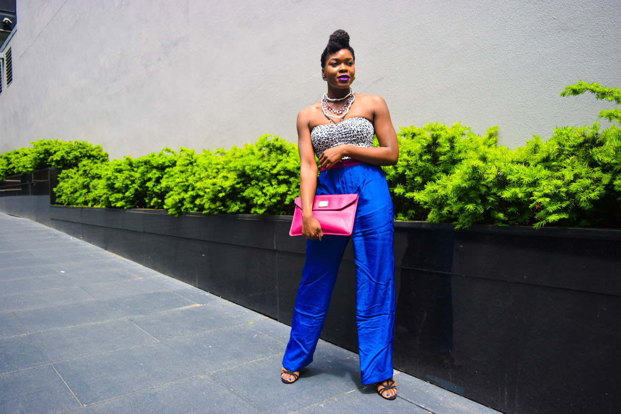 Befitting Style Oyinkan Wearing Cobalt Blue Full Leg Pants 19
