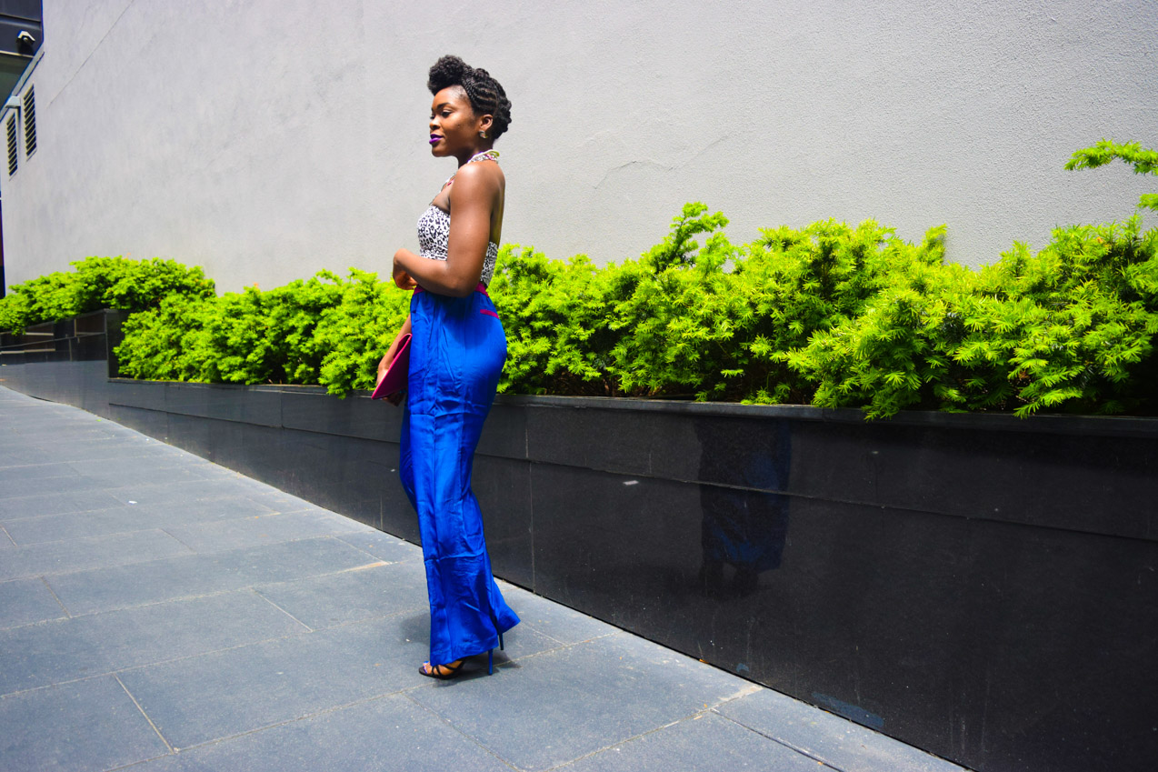 Befitting Style Oyinkan Wearing Cobalt Blue Full Leg Pant 20