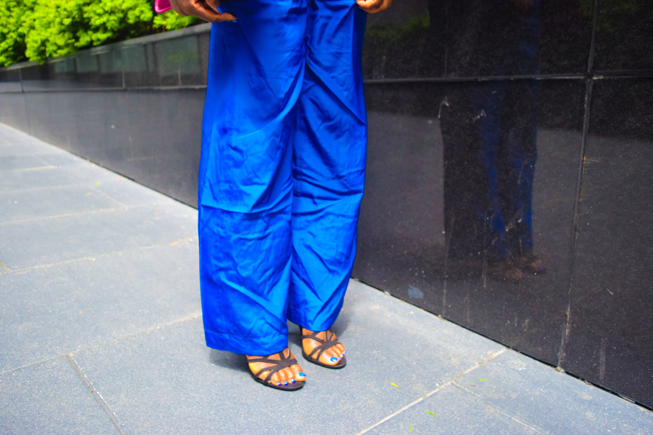 Befitting Style Oyinkan Wearing Cobalt Blue Full Leg Pants 25