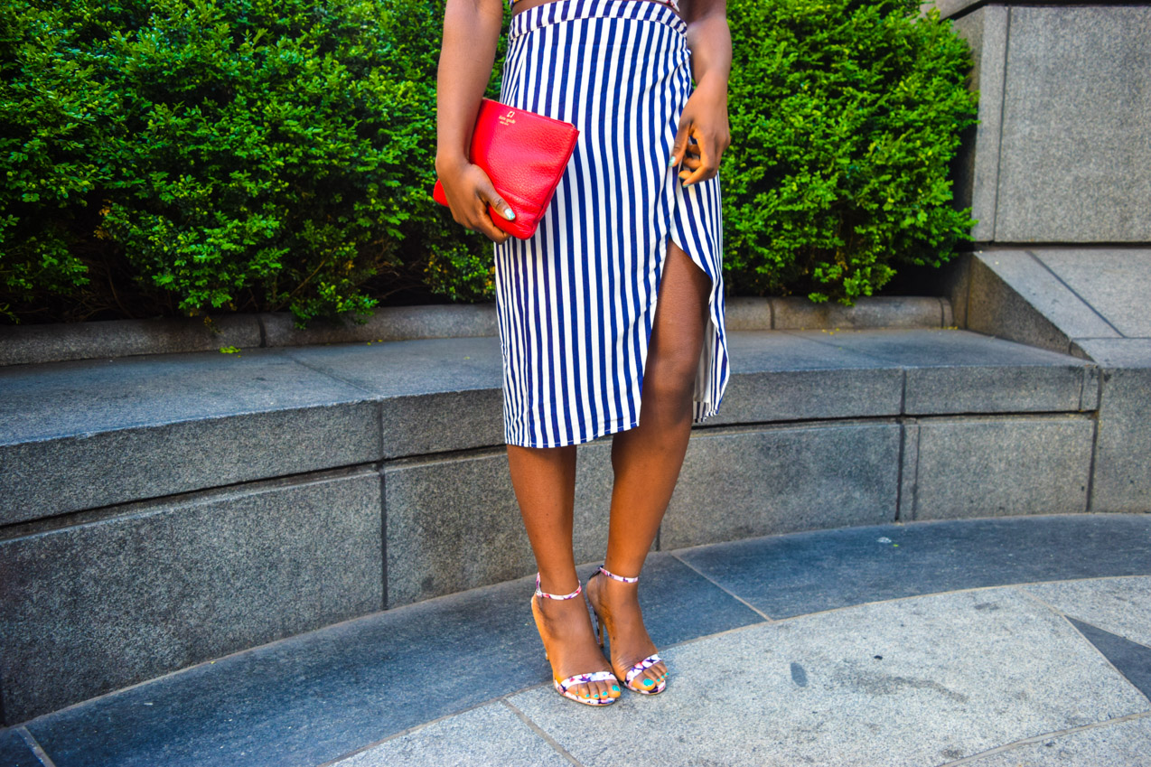Befitting Style Oyinkan Wearing Floral Top With Stripes Skirt 17