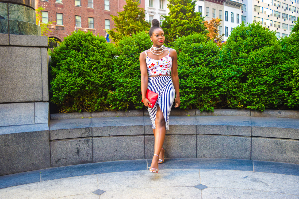 Befitting Style Oyinkan Wearing Floral Top With Stripes Skirt 7
