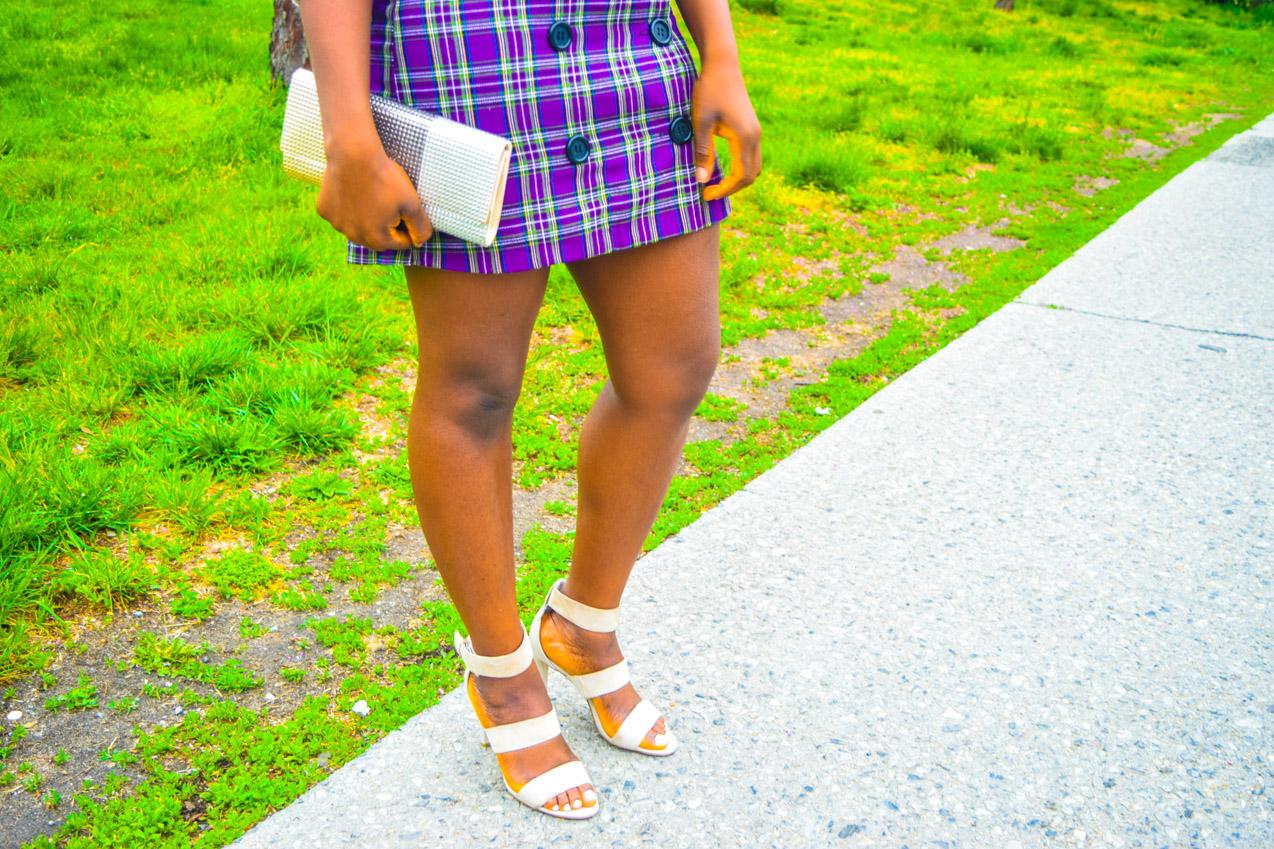 Befitting Style Oyinkan Wearing Purple Plaid Skirt w-Mesh Top 17