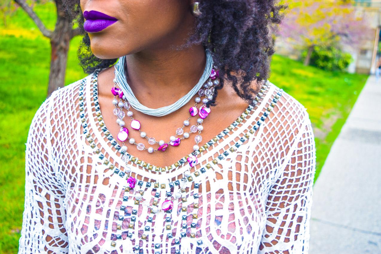 Befitting Style Oyinkan Wearing Purple Plaid Skirt w-Mesh Top 18