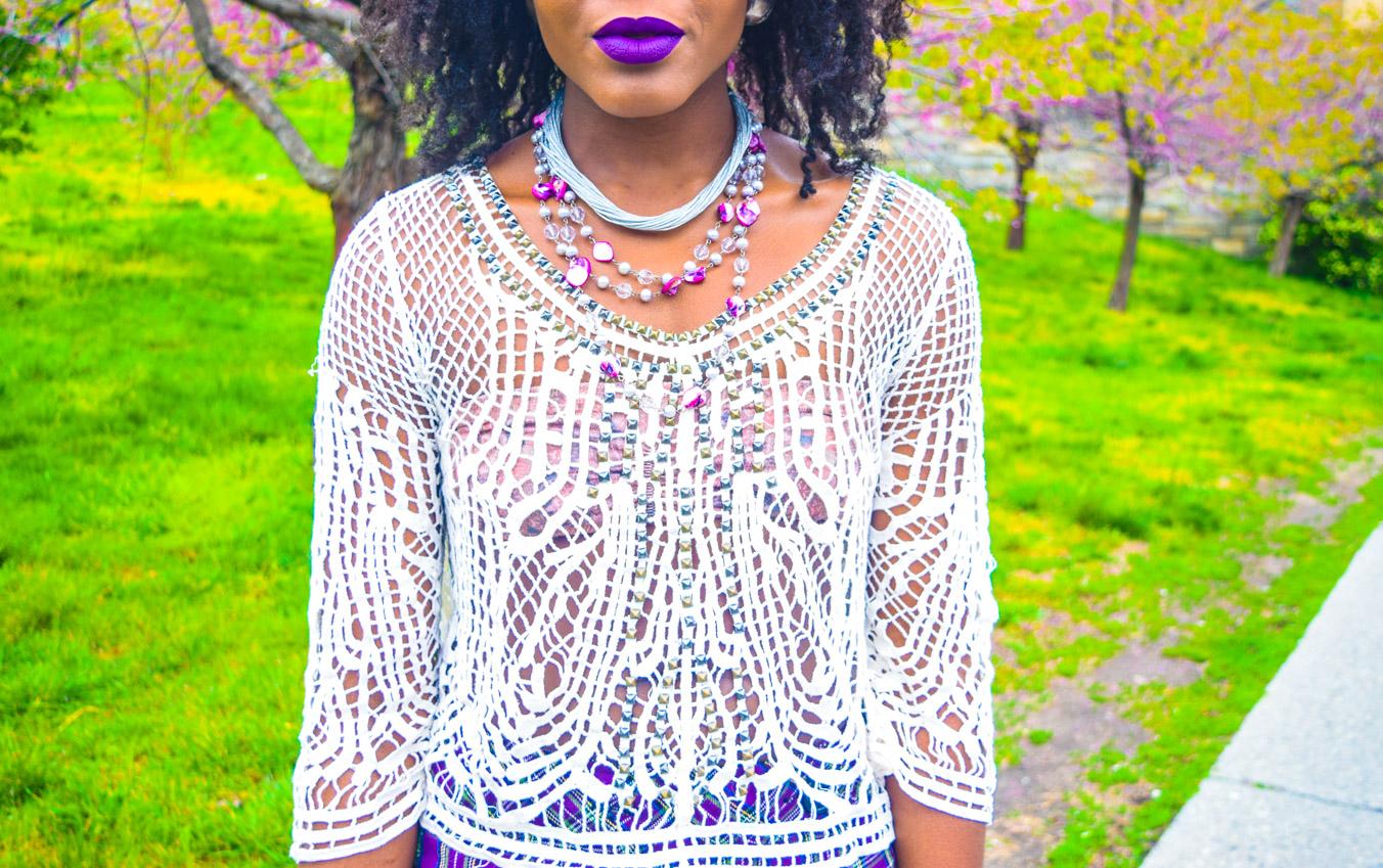 Befitting Style Oyinkan Wearing Purple Plaid Skirt w-Mesh Top 19