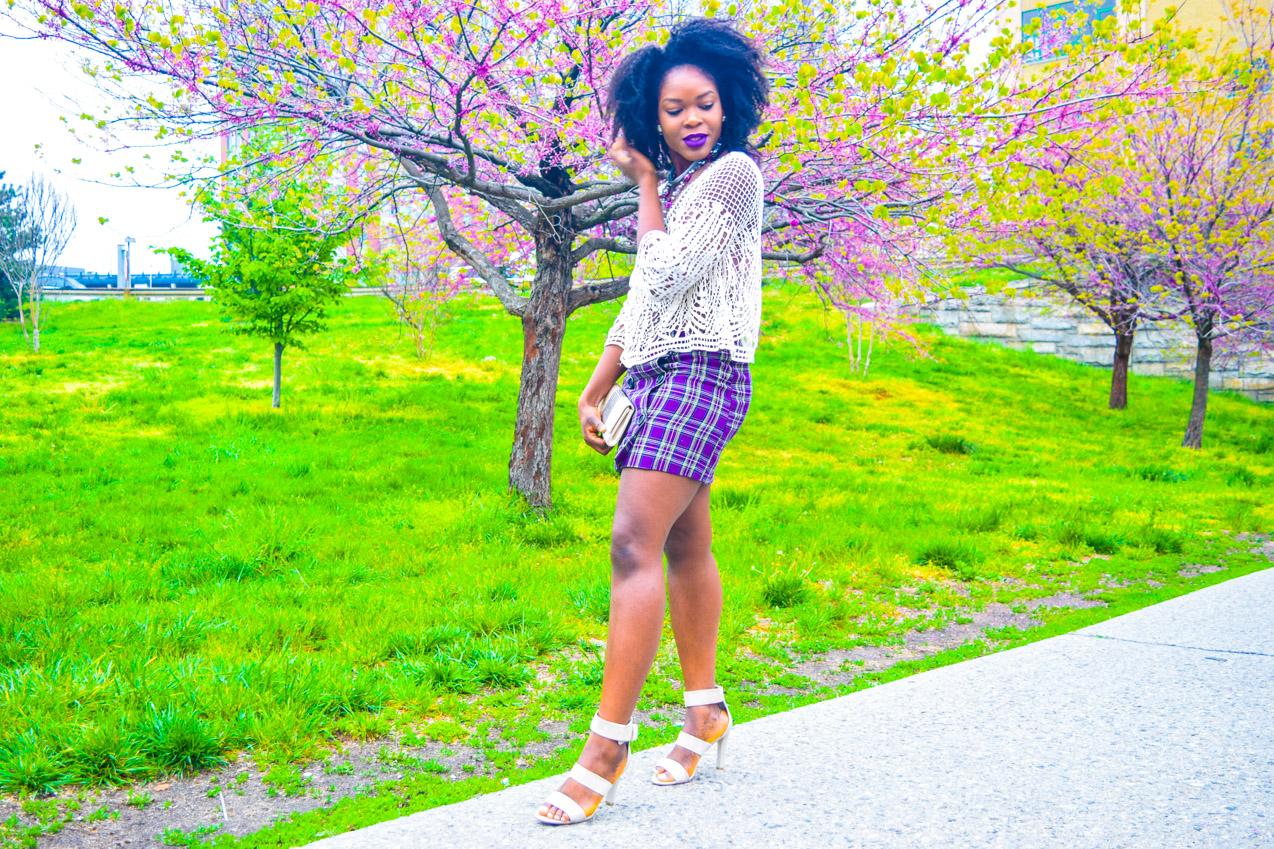 Befitting Style Oyinkan Wearing Purple Plaid Skirt w-Mesh Top 7