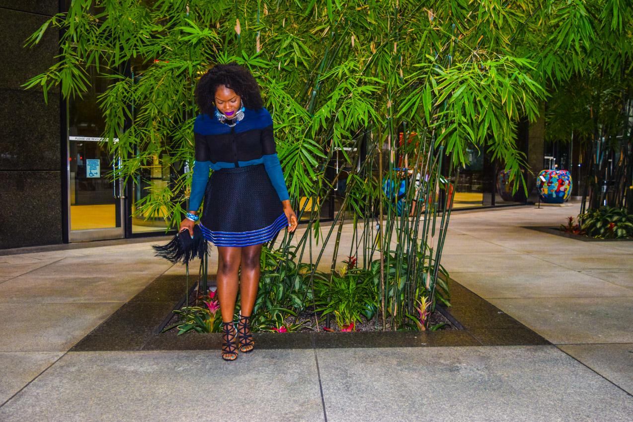 Befitting Style Oyinkan Wearing black blue skirt black blue shirt 11