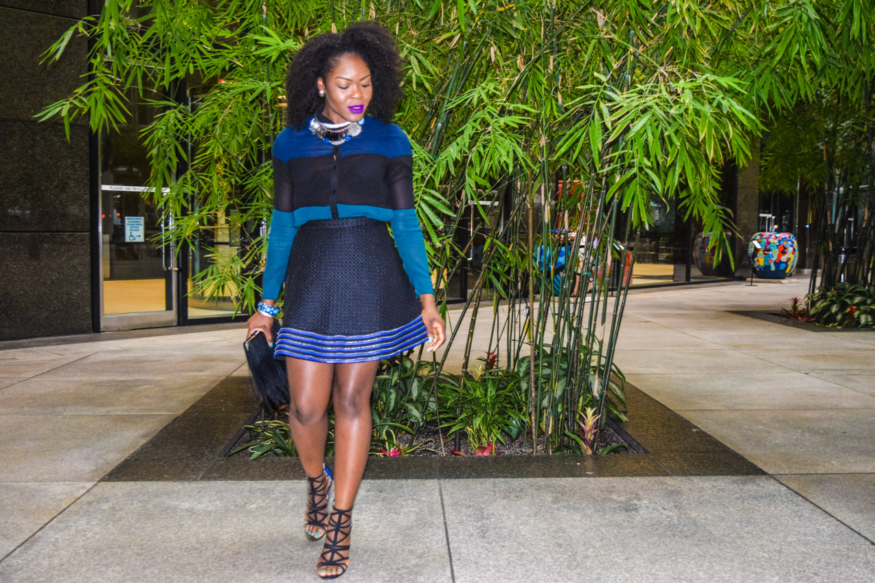 befitting style oyinkan wearing black blue skirt black