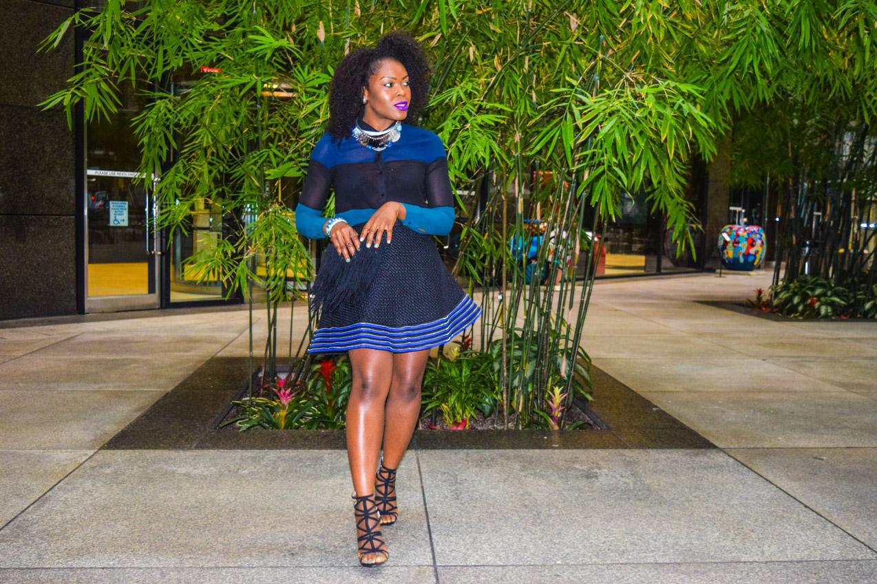 Befitting Style Oyinkan Wearing black blue skirt black blue shirt 17
