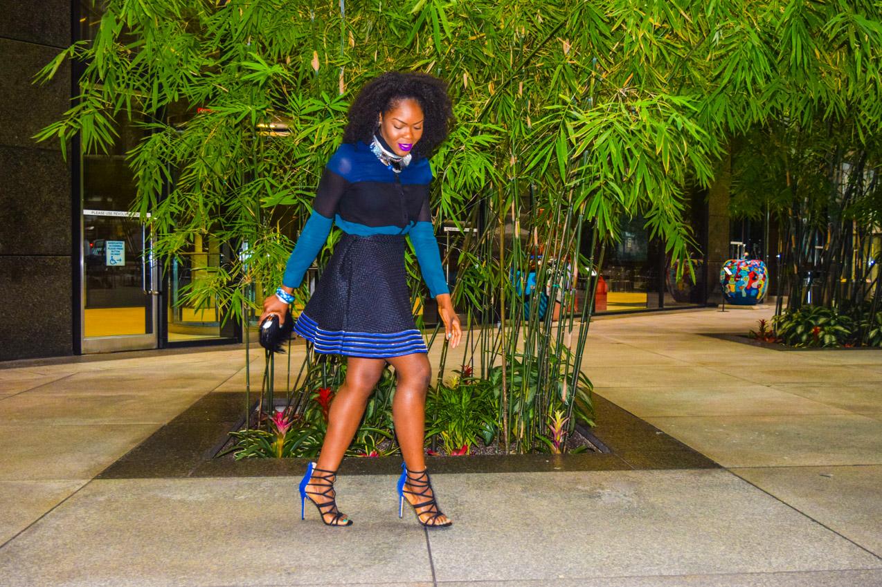 Befitting Style Oyinkan Wearing black blue skirt black blue shirt 19