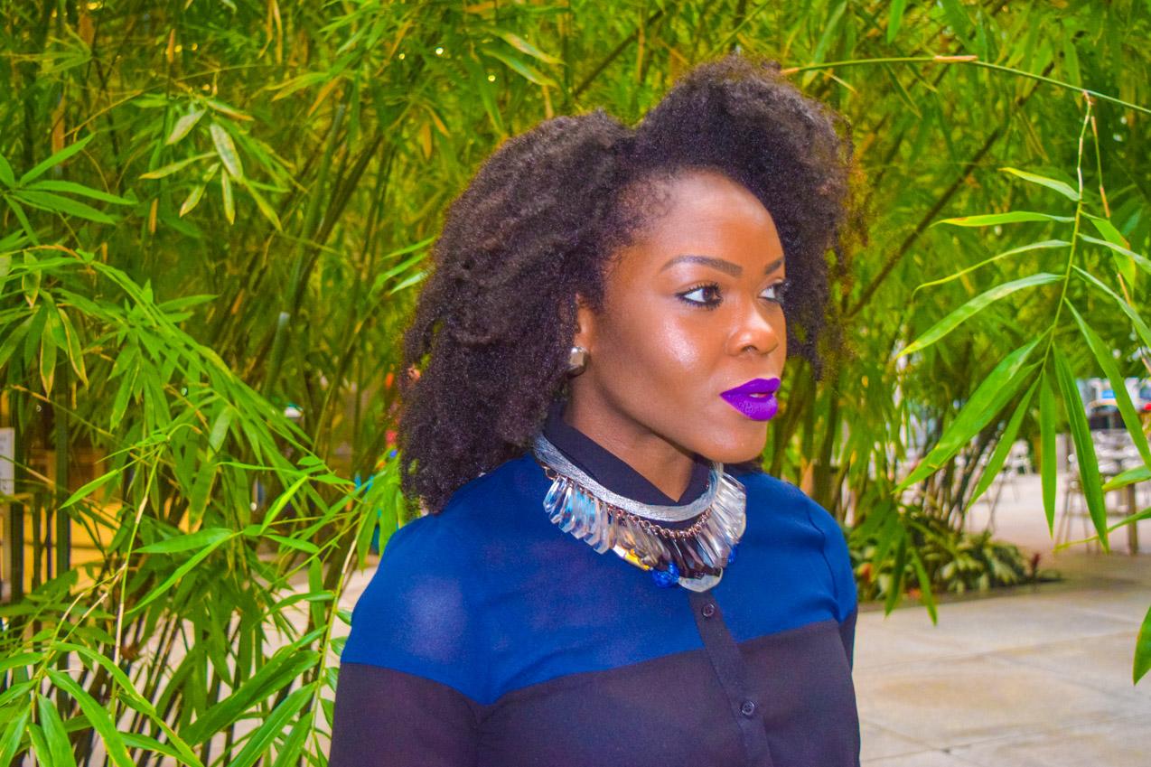 Befitting Style Oyinkan Wearing black blue skirt black blue shirt 22