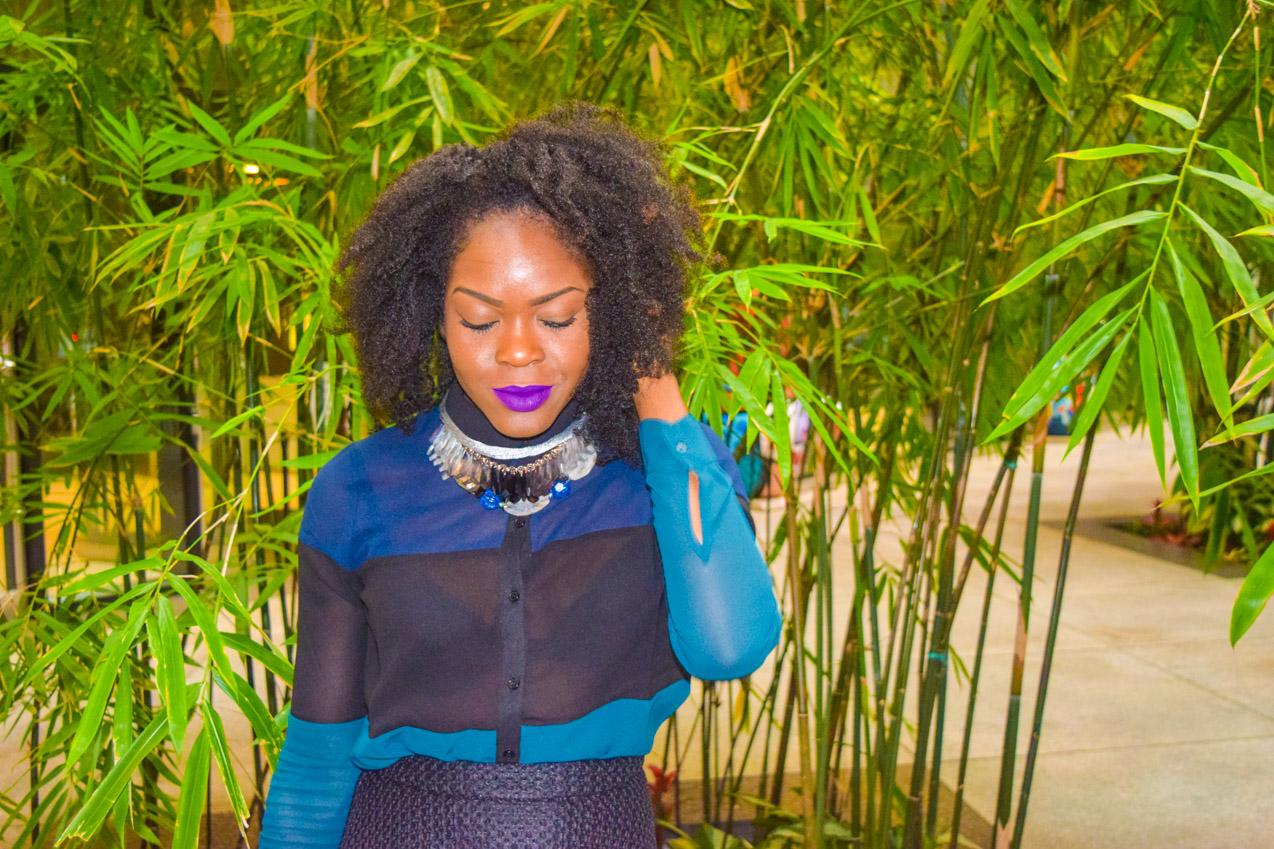 Befitting Style Oyinkan Wearing black blue skirt black blue shirt 26