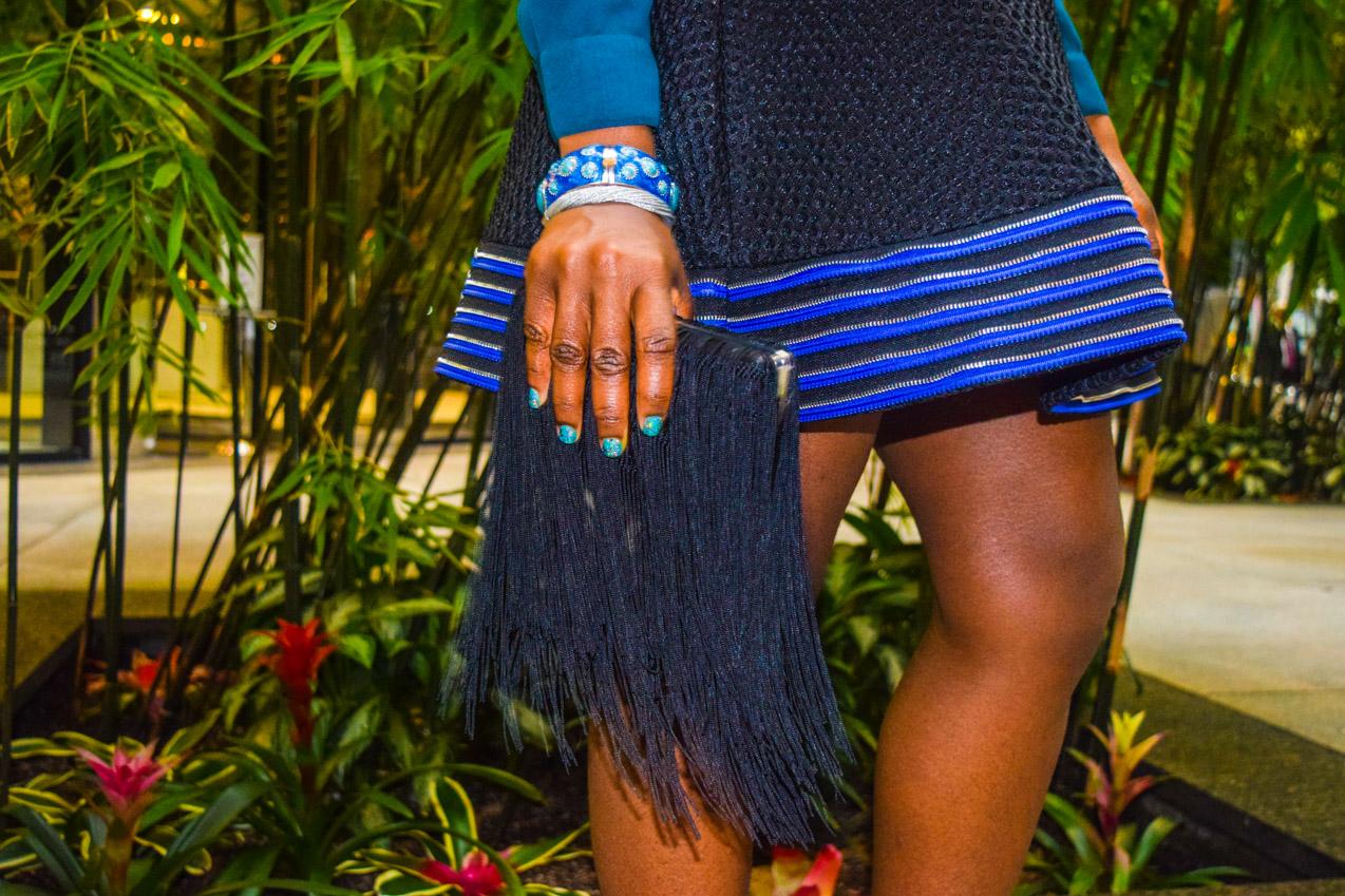Befitting Style Oyinkan Wearing black blue skirt black blue shirt 28