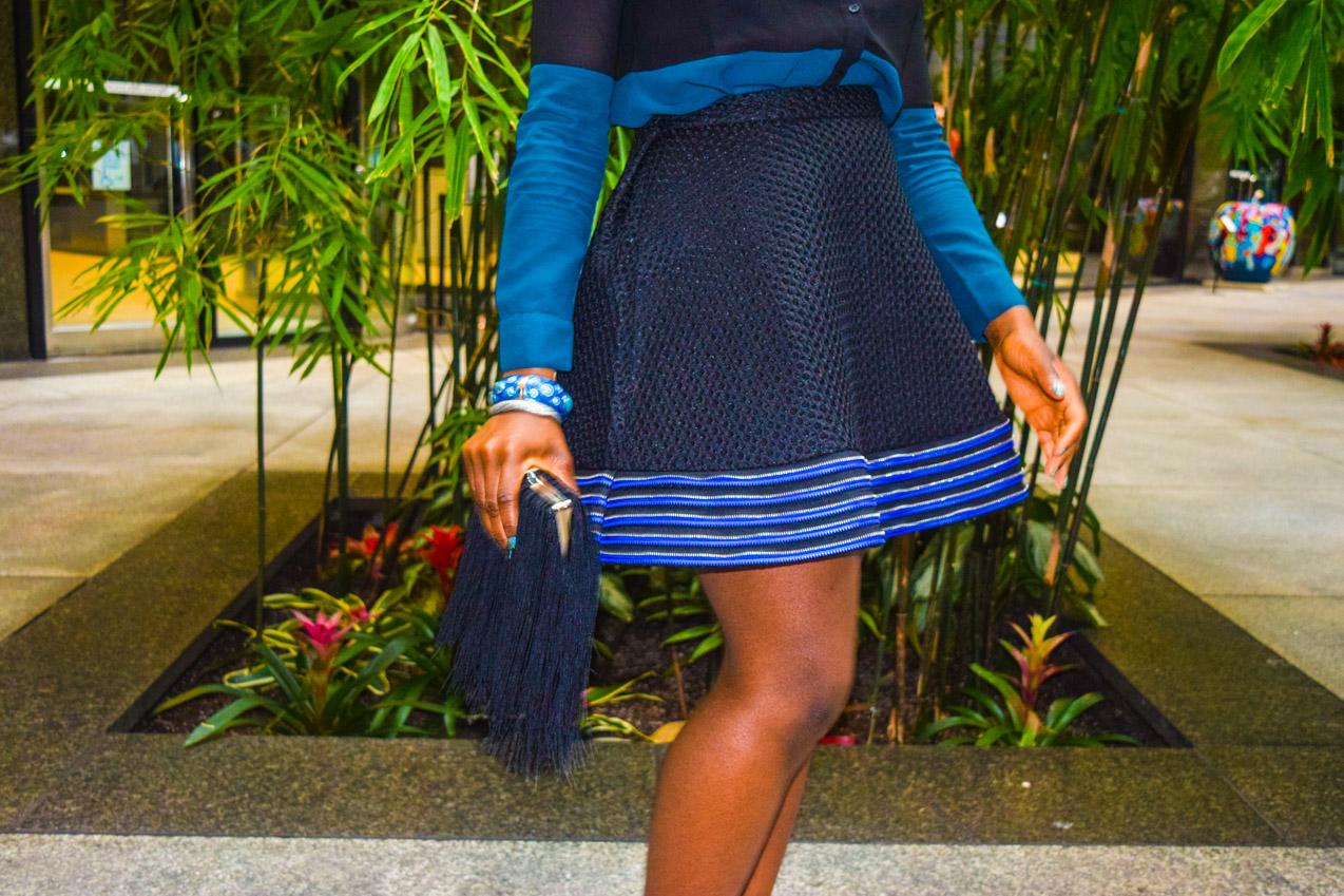 Befitting Style Oyinkan Wearing black blue skirt black blue shirt 29