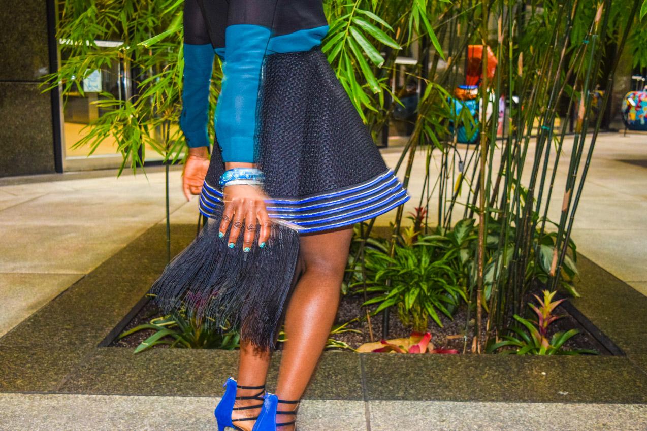 Befitting Style Oyinkan Wearing black blue skirt black blue shirt 31