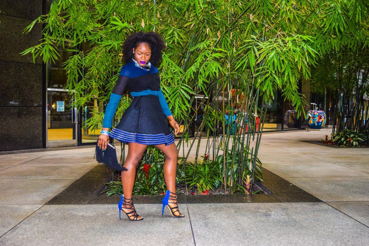 Befitting Style Oyinkan Wearing black blue skirt black blue shirt 6
