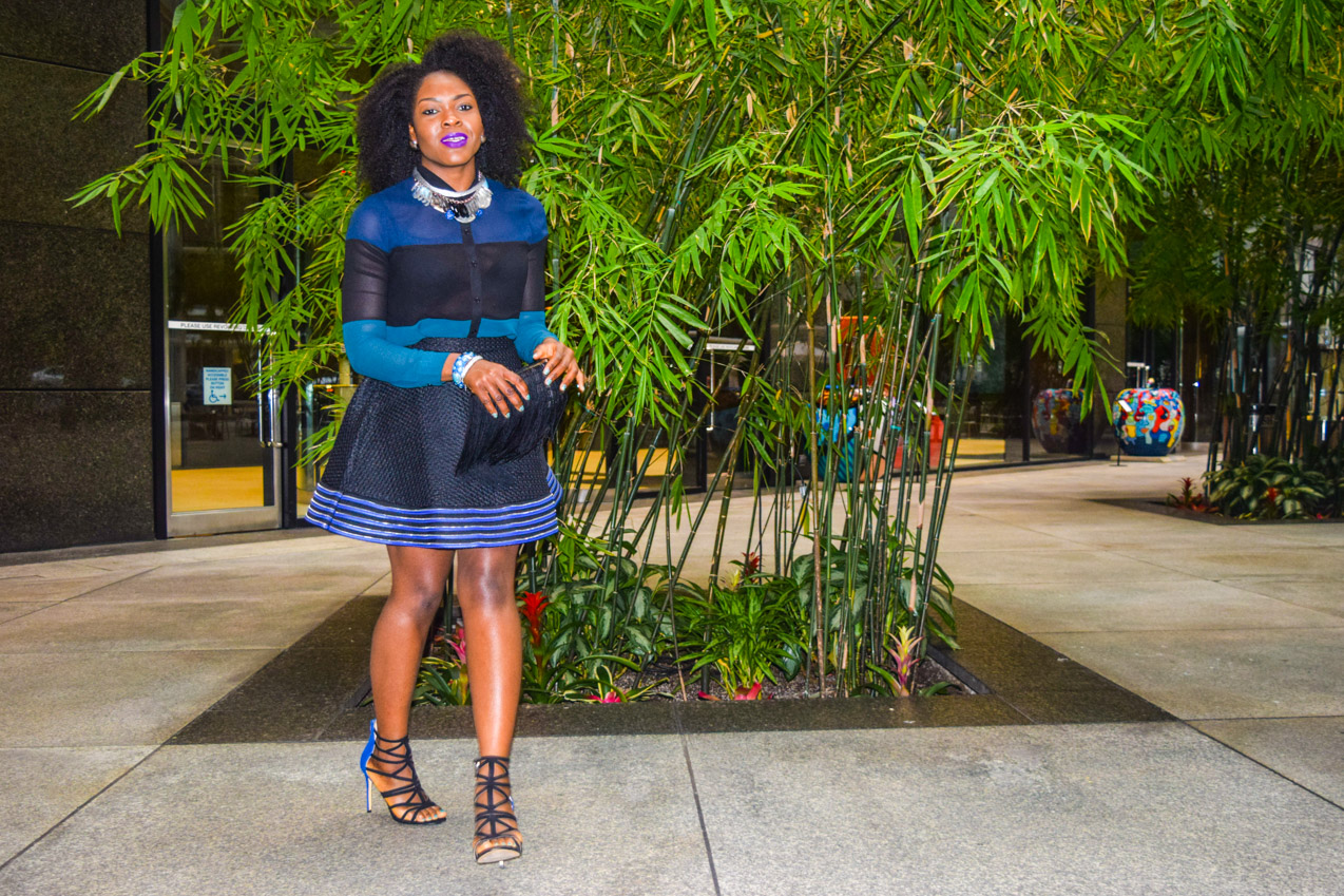 Befitting Style Oyinkan Wearing black blue skirt black blue shirt 9
