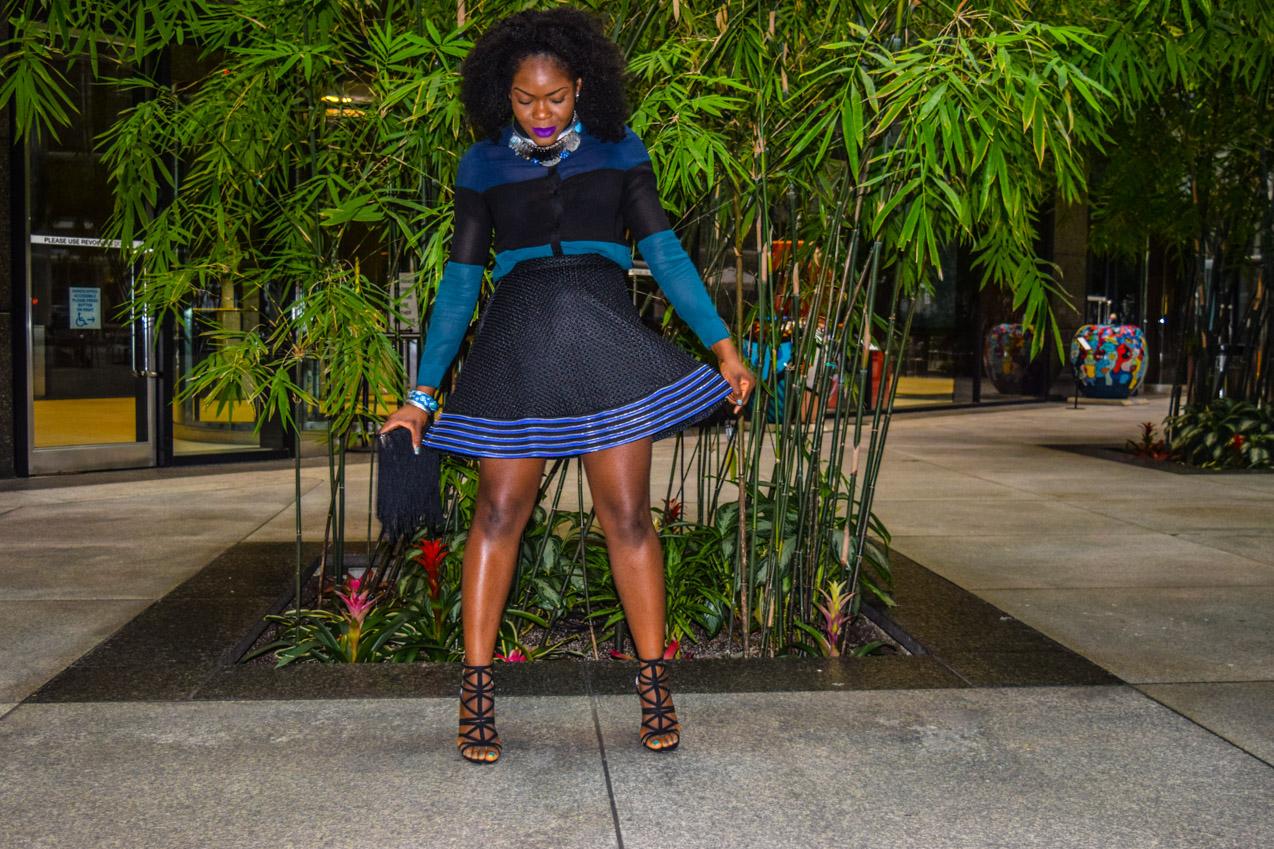 Befitting Style Oyinkan Wearing black blue skirt black blue shirt