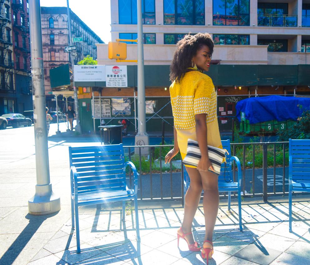 Befitting Style Oyinkan Wearing Yellow Printed Dress 17