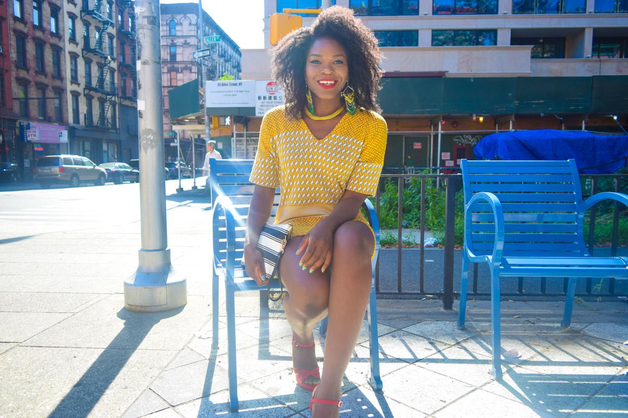 Befitting Style Oyinkan Wearing Yellow Printed Casual Dress 7
