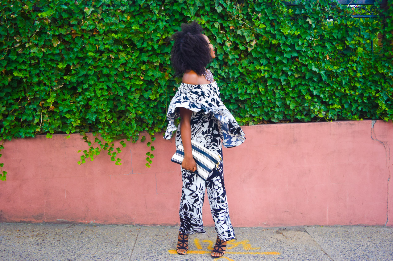 Befitting Style Oyinkan Wearing Black and White Off the shoulder Jumpsuit 2