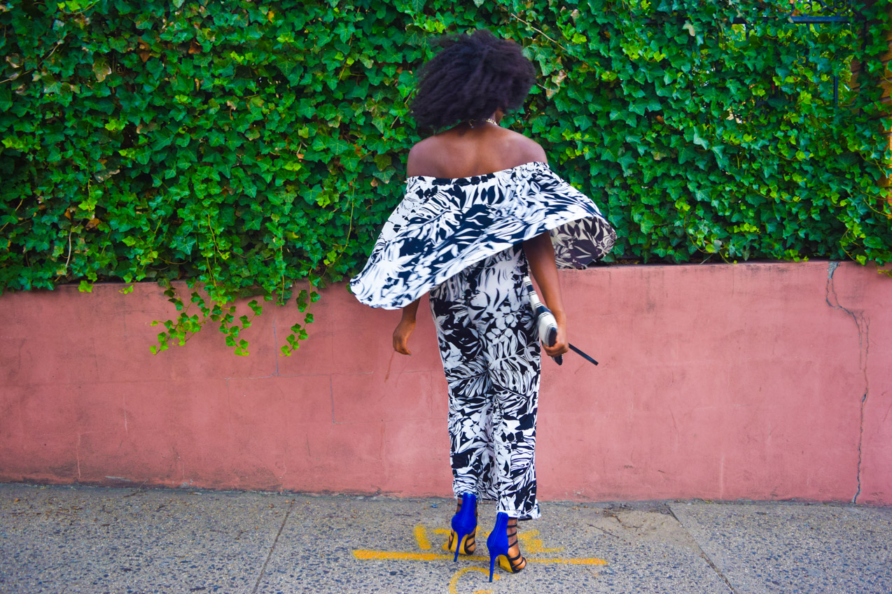 Befitting Style Oyinkan Wearing Black and White Off the shoulder Jumpsuit 5