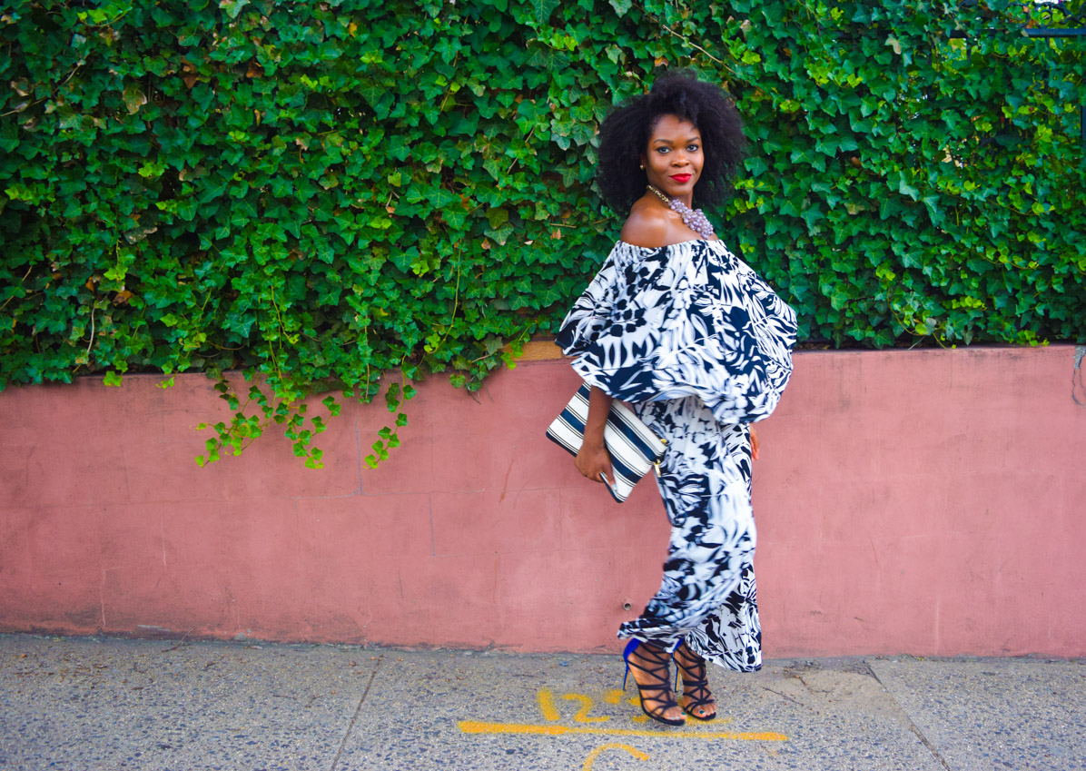 Befitting Style Oyinkan Wearing Black and White Off the shoulder Jumpsuit 6