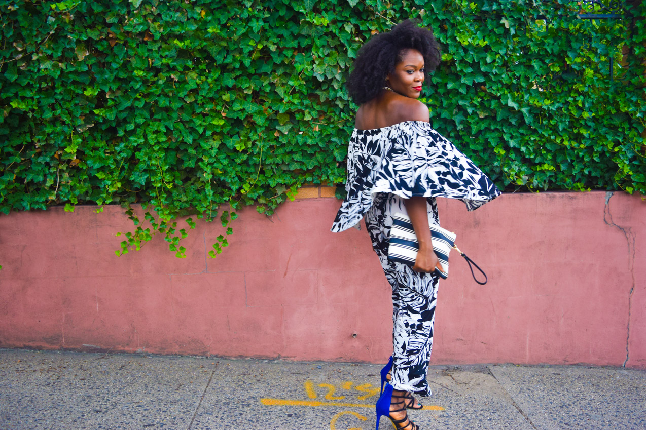 Befitting Style Oyinkan Wearing Black and White Off the shoulder Jumpsuit 7