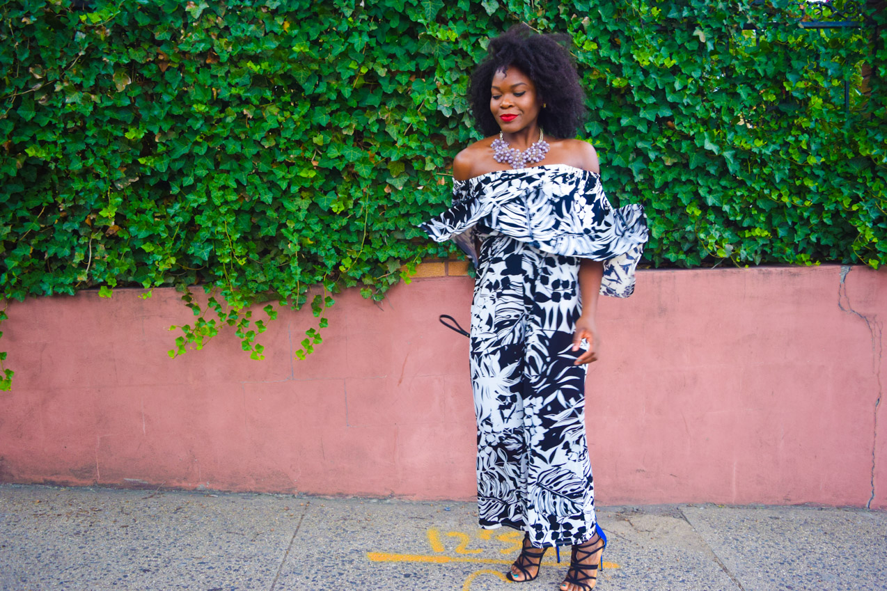 Befitting Style Oyinkan Wearing Black and White Off the shoulder Jumpsuit 9