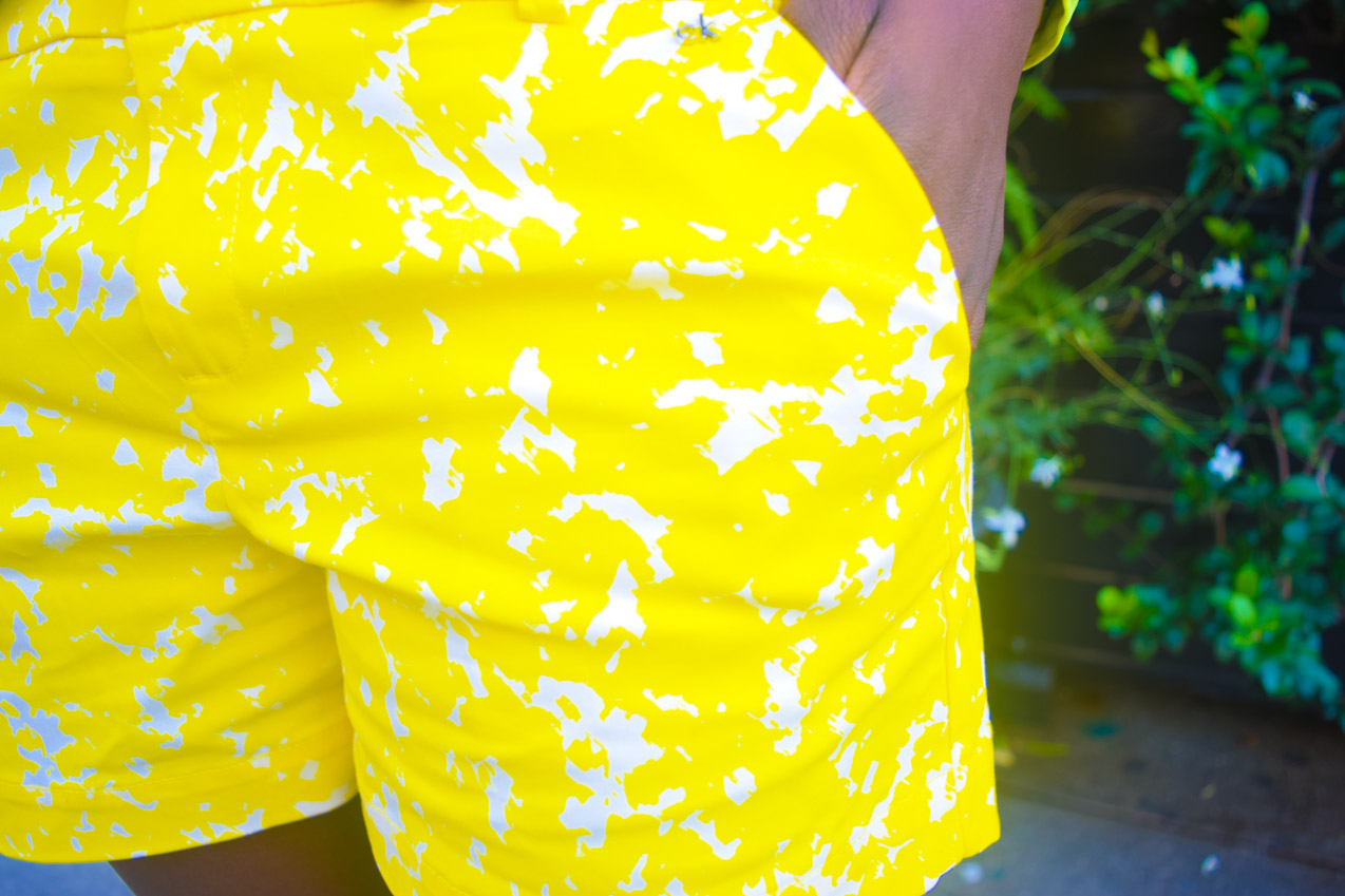 Befitting Style Oyinkan Wearing Blue Button Down Yellow Printed Shorts 15