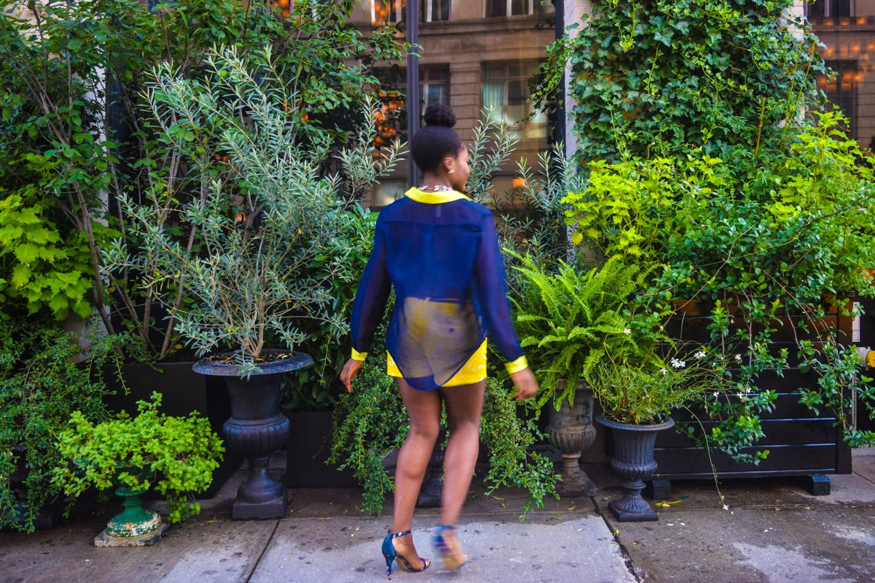 Befitting Style Oyinkan Wearing Blue Button Down Yellow Printed Shorts 6