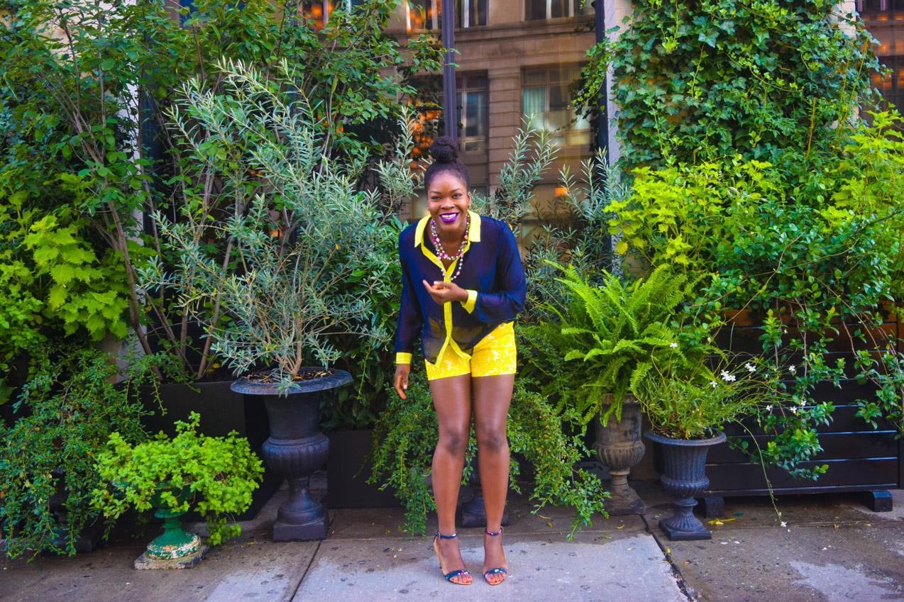 Befitting Style Oyinkan Wearing Blue Button Down Yellow Printed Shorts 8