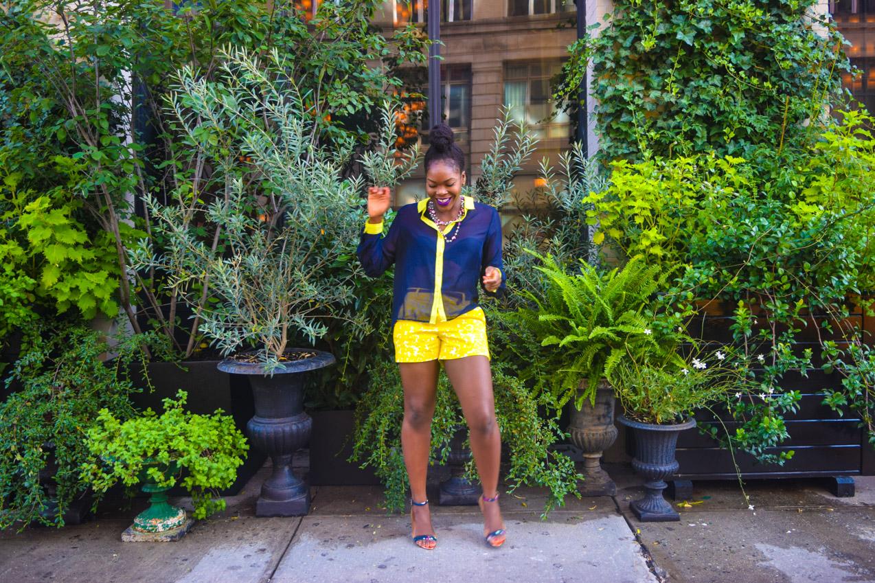 Befitting Style Oyinkan Wearing Blue Button Down Yellow Printed Shorts 9