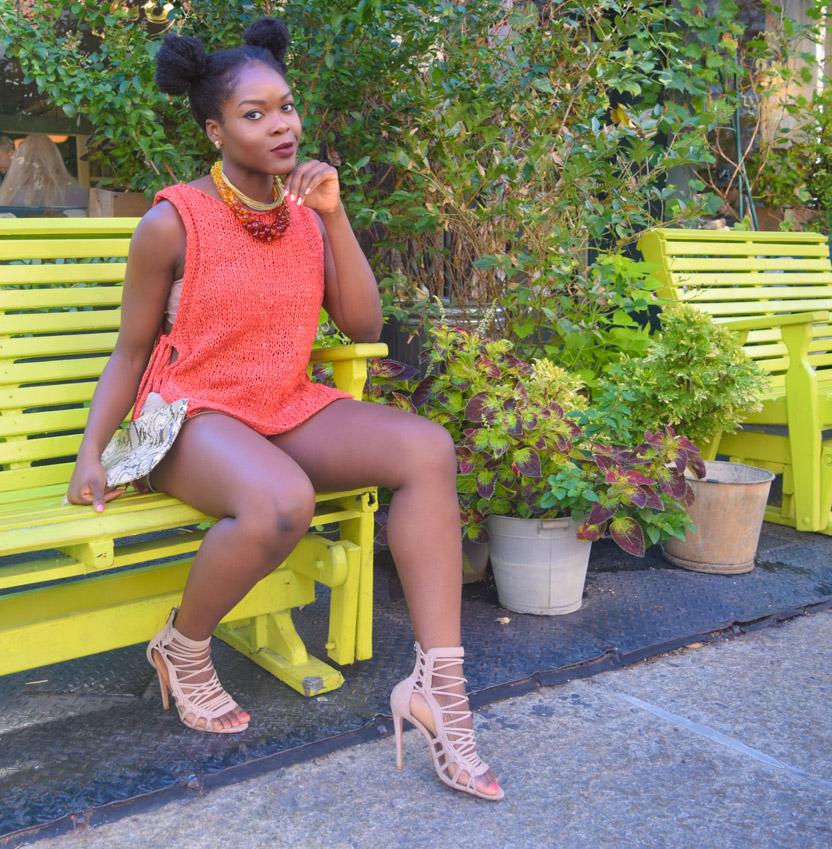 Befitting Style Oyinkan Wearing Orange Side Out Top Khaki Shorts 2
