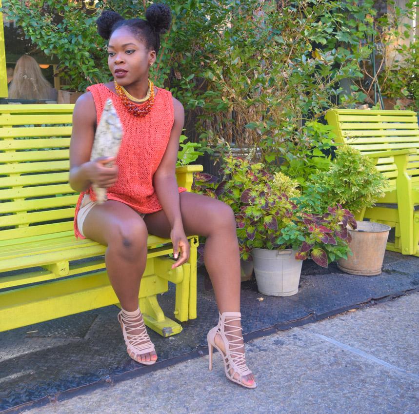 Befitting Style Oyinkan Wearing Orange Side Out Top Khaki Shorts 4