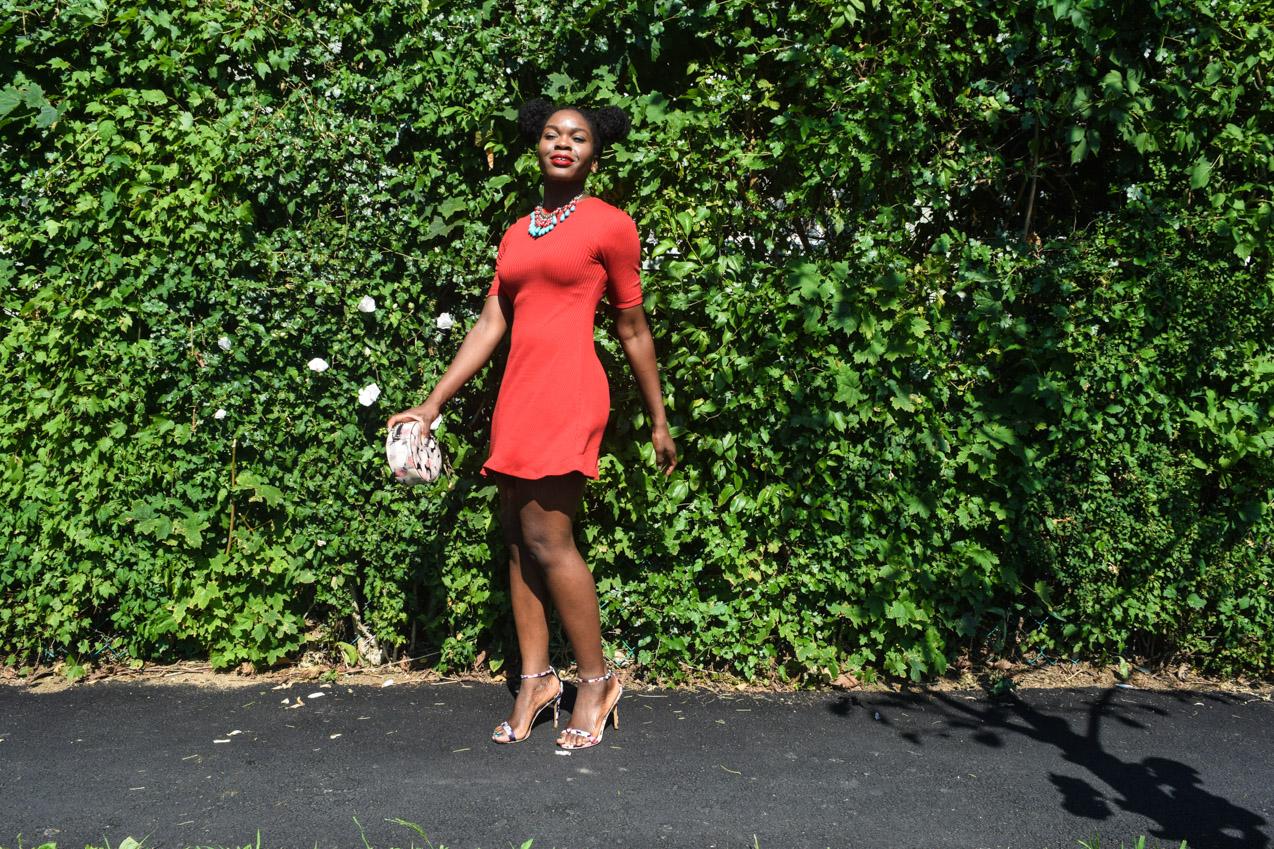 Befitting Style Oyinkan Wearing Simple Red T-Shirt Dress 11