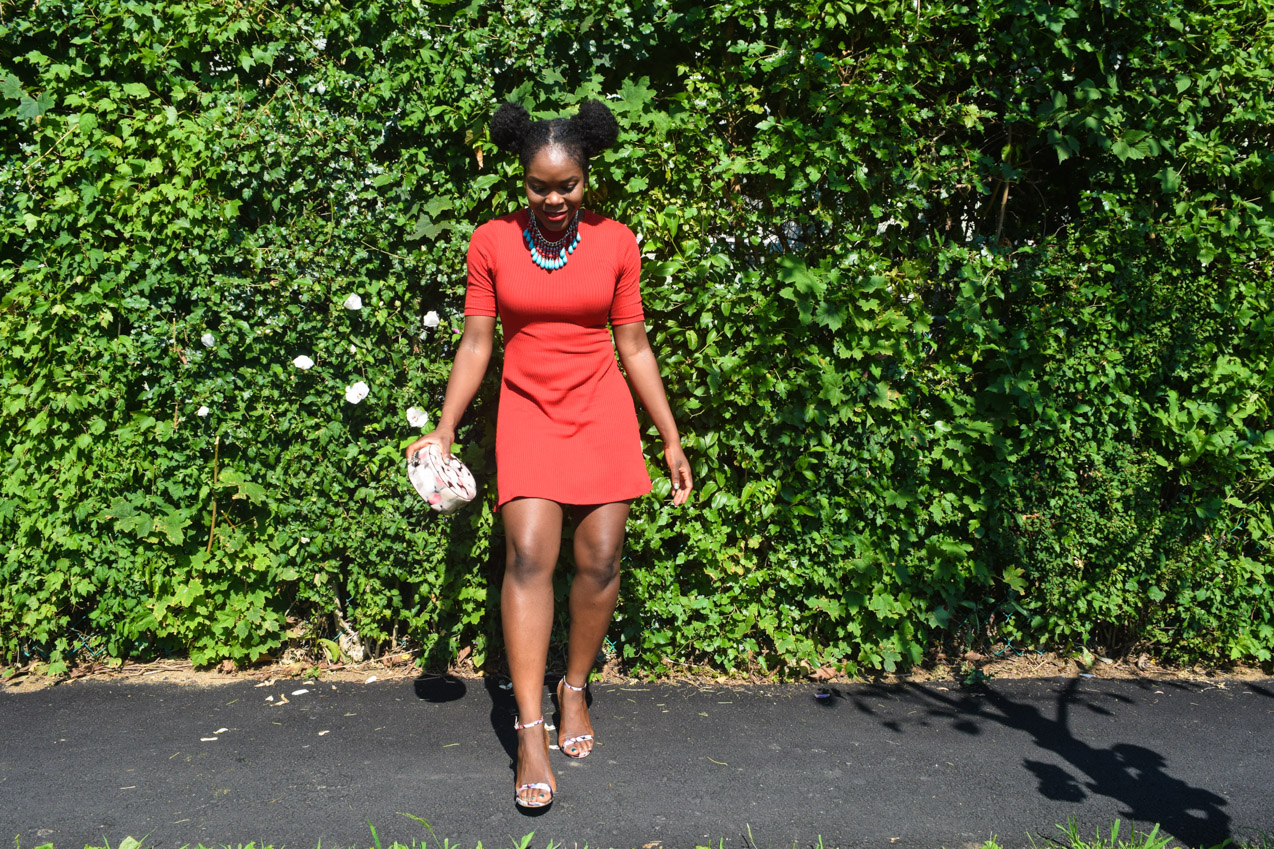 Befitting Style Oyinkan Wearing Simple Red T-Shirt Dress 12