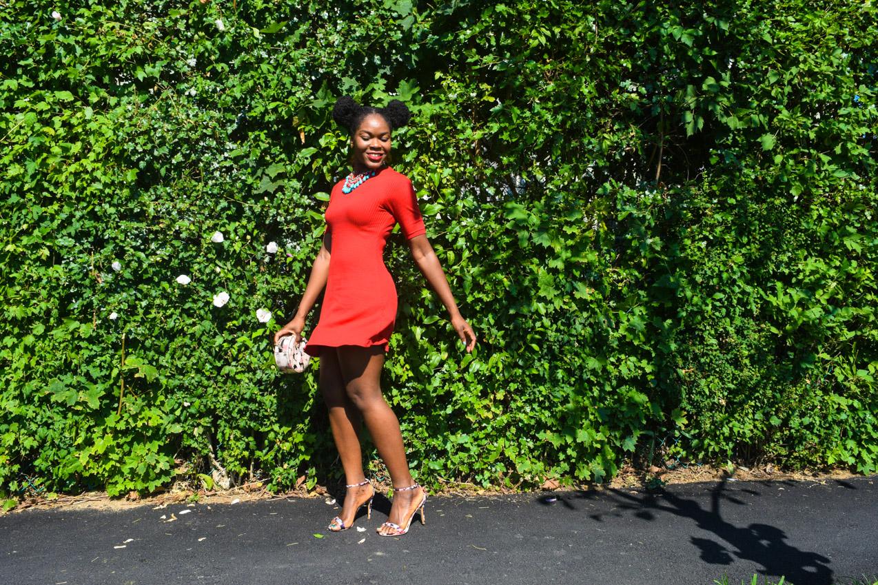Befitting Style Oyinkan Wearing Simple Red T-Shirt Dress 15