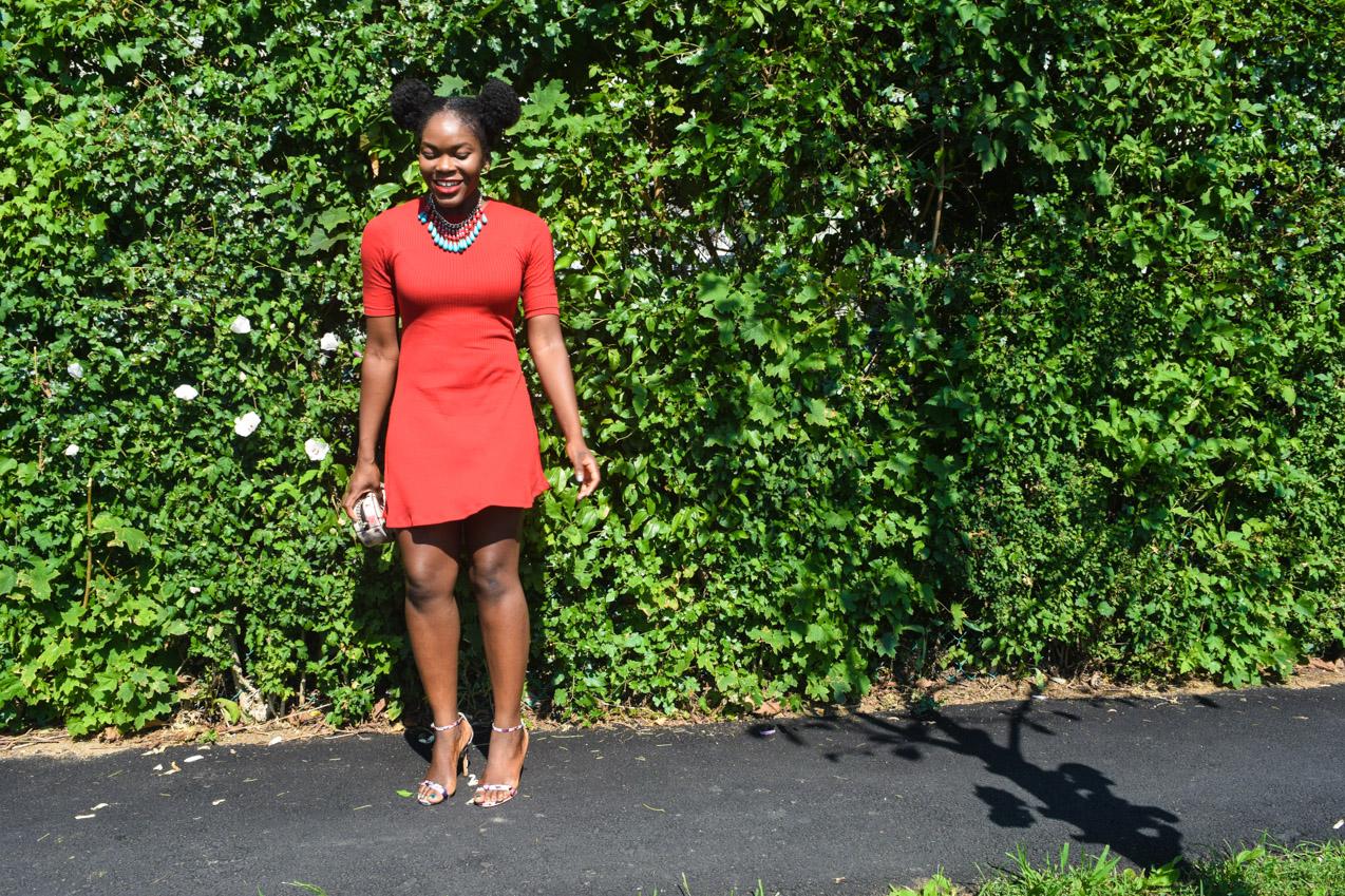Befitting Style Oyinkan Wearing Simple Red T-Shirt Dress 17