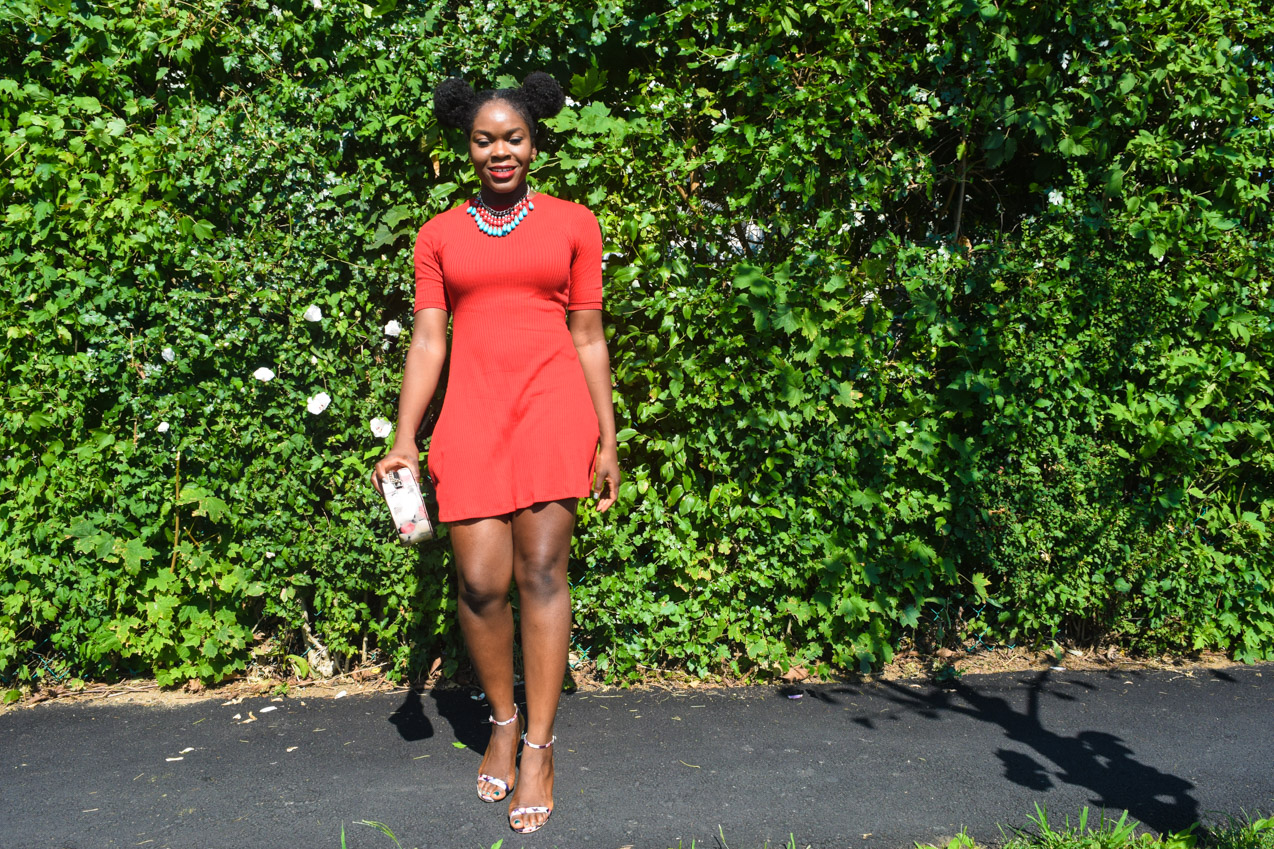 Befitting Style Oyinkan Wearing Simple Red T-Shirt Dress 19