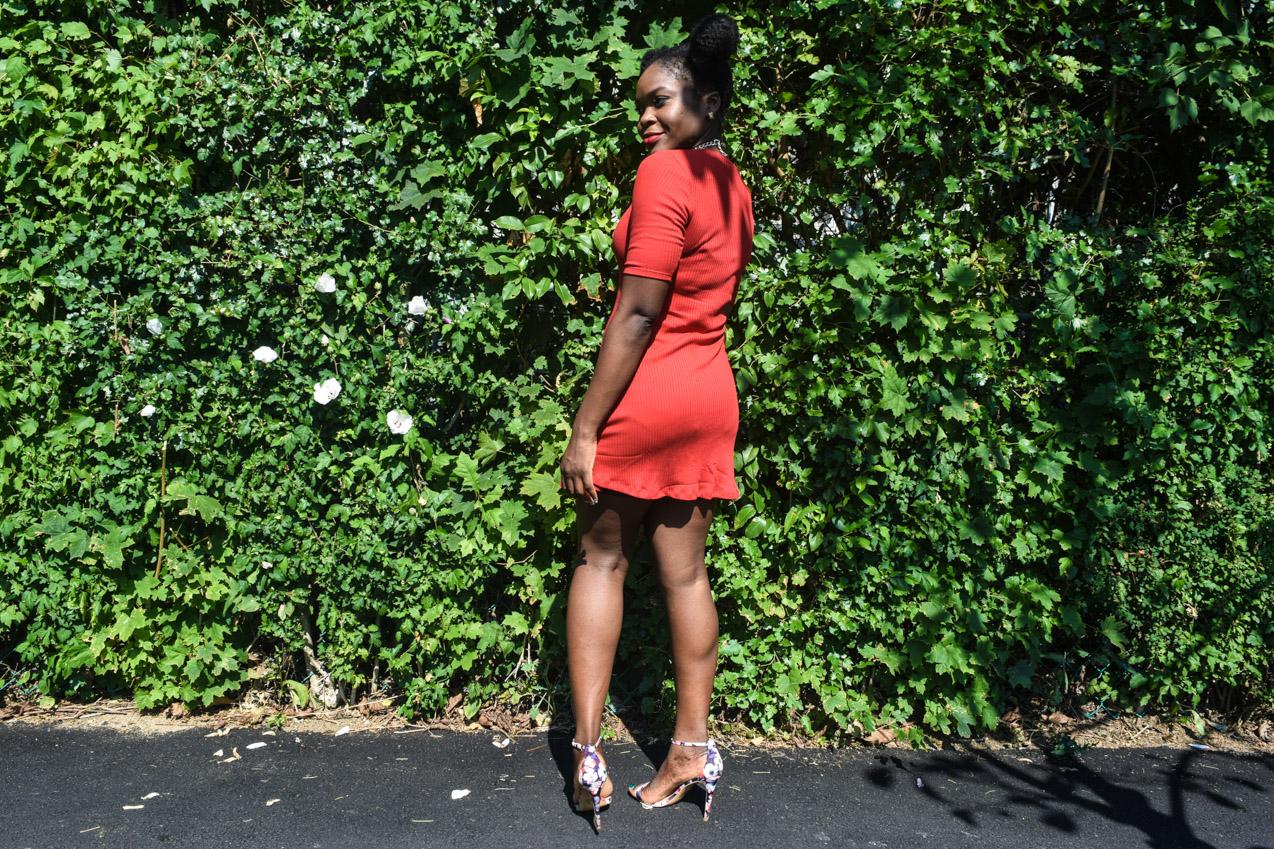 Befitting Style Oyinkan Wearing Simple Red T-Shirt Dress 2