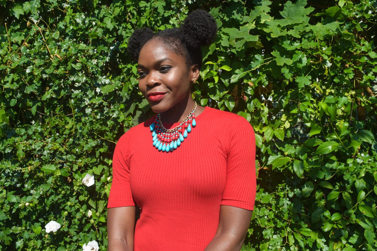 Befitting Style Oyinkan Wearing Simple Red T-Shirt Dress 23